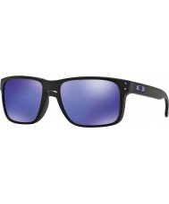 Oakley Oo9102-26 holbrook julian Wilson matzwart - violet iridium zonnebril