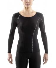 Skins DA99060059240FL Dames dnamic zwart en limoncello compressie top met lange mouwen - maat L