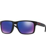 Oakley Oo9102-36 Holbrook mat zwart - red iridium zonnebril