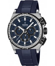 Festina F16970-2 Mens chrono fiets blauwe rubberen chronograafhorloge