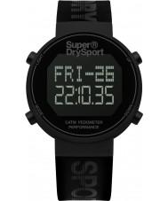Superdry SYG203BB Mens digi stappenteller zwarte siliconen band horloge