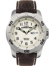 Timex T46681 Mens wit bruin expeditie traditionele horloge