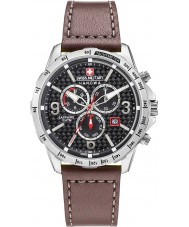 Swiss Military 6-4251-04-007 Mens ace chrono bruine lederen band horloge